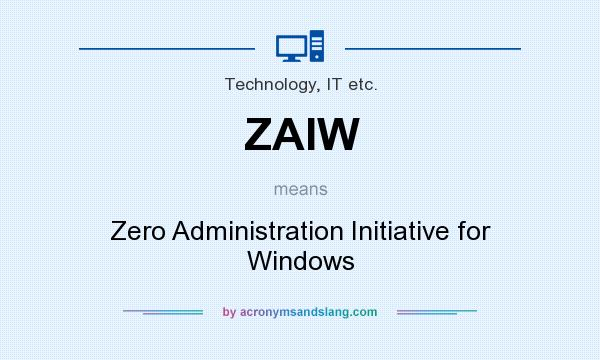 What does ZAIW mean? It stands for Zero Administration Initiative for Windows