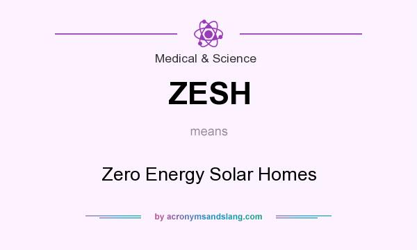 What does ZESH mean? It stands for Zero Energy Solar Homes