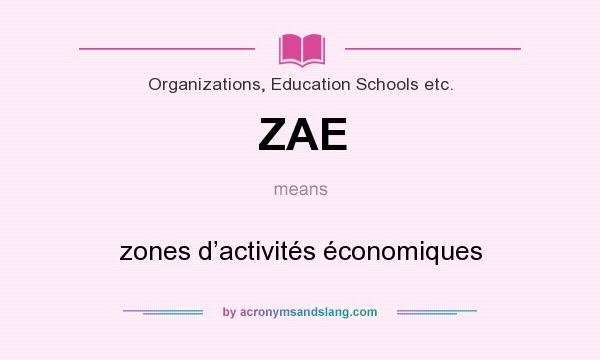 What does ZAE mean? It stands for zones d'activités économiques