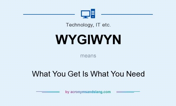 What does WYGIWYN mean? It stands for What You Get Is What You Need