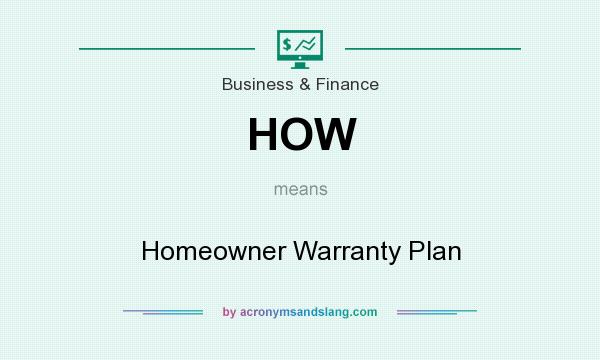 What does HOW mean? It stands for Homeowner Warranty Plan