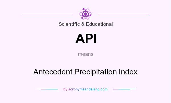 What does API mean? It stands for Antecedent Precipitation Index