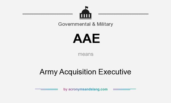 What does AAE mean? It stands for Army Acquisition Executive