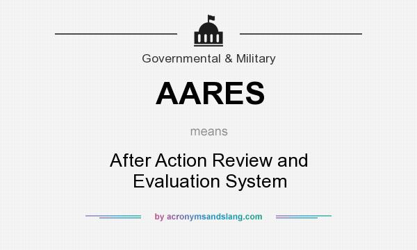 What does AARES mean? It stands for After Action Review and Evaluation System