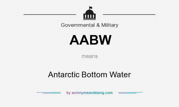 What does AABW mean? It stands for Antarctic Bottom Water