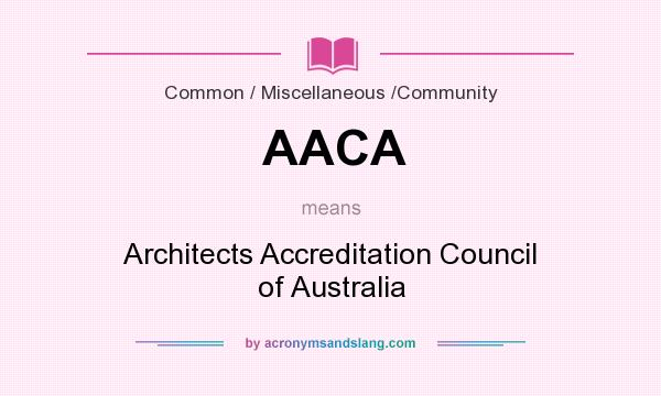 What does AACA mean? It stands for Architects Accreditation Council of Australia