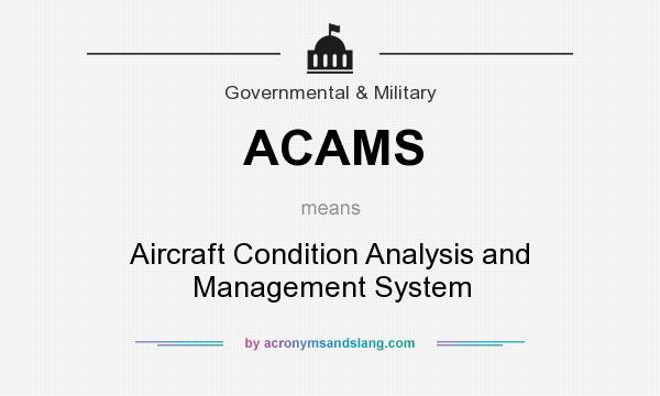 What does ACAMS mean? It stands for Aircraft Condition Analysis and Management System