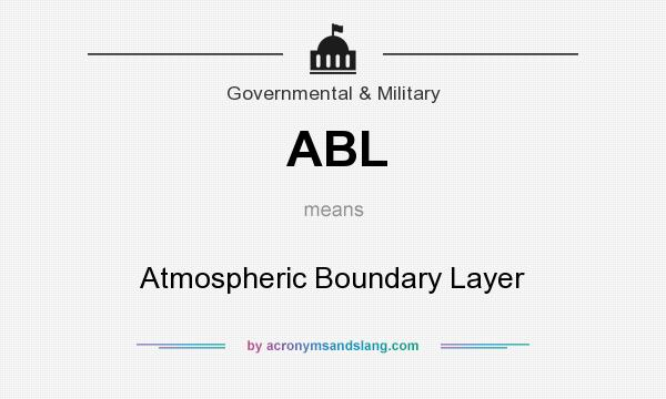 What does ABL mean? It stands for Atmospheric Boundary Layer