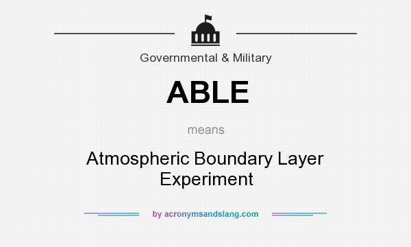 What does ABLE mean? It stands for Atmospheric Boundary Layer Experiment