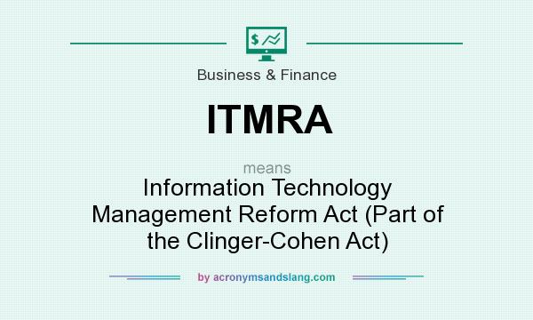 What does ITMRA mean? It stands for Information Technology Management Reform Act (Part of the Clinger-Cohen Act)
