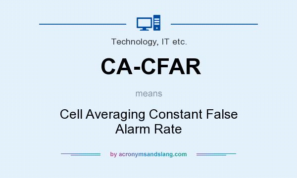 What does CA-CFAR mean? It stands for Cell Averaging Constant False Alarm Rate