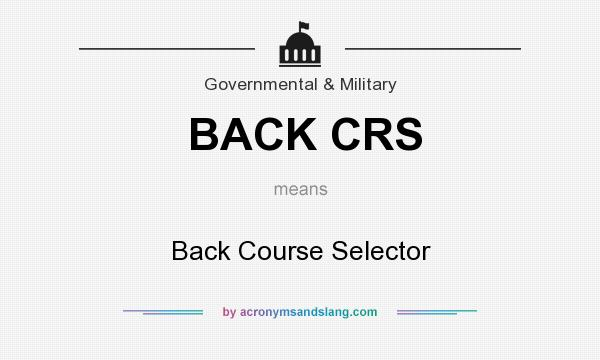 What does BACK CRS mean? It stands for Back Course Selector