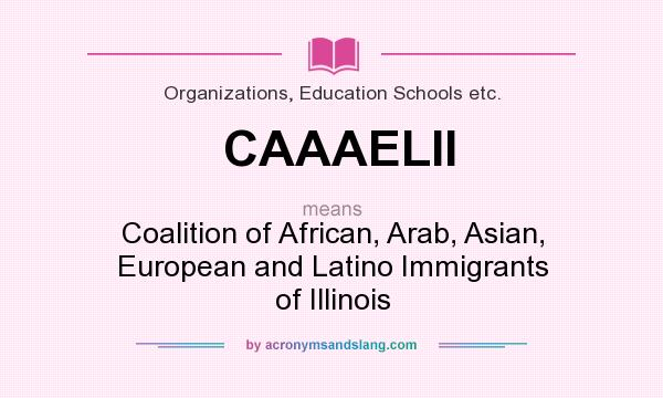What does CAAAELII mean? It stands for Coalition of African, Arab, Asian, European and Latino Immigrants of Illinois