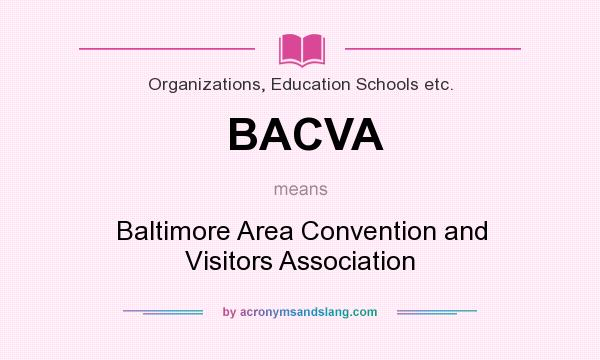 What does BACVA mean? It stands for Baltimore Area Convention and Visitors Association