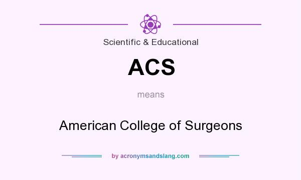 What does ACS mean? It stands for American College of Surgeons
