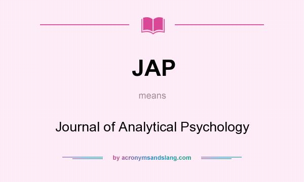 What does JAP mean? It stands for Journal of Analytical Psychology