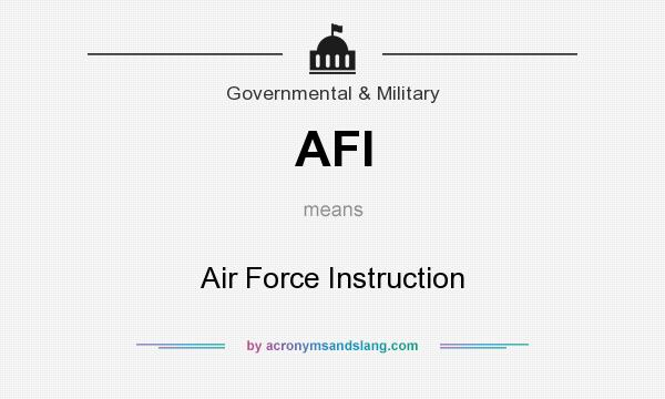 What does AFI mean? It stands for Air Force Instruction