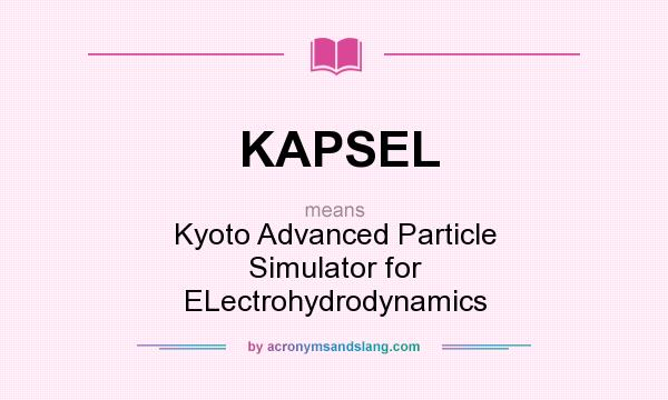 What does KAPSEL mean? It stands for Kyoto Advanced Particle Simulator for ELectrohydrodynamics