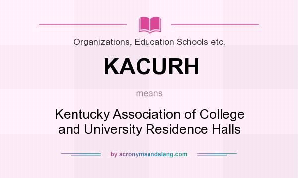 What does KACURH mean? It stands for Kentucky Association of College and University Residence Halls