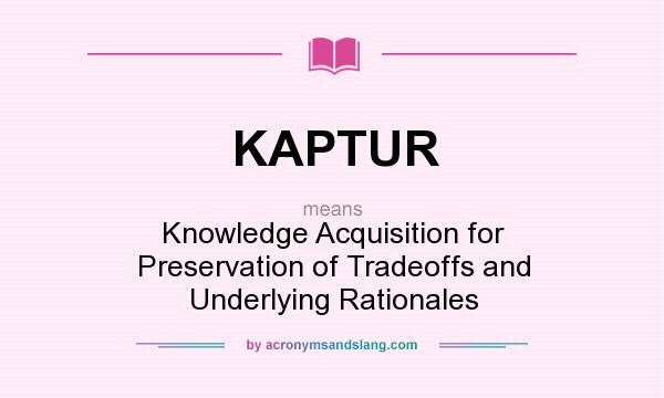 What does KAPTUR mean? It stands for Knowledge Acquisition for Preservation of Tradeoffs and Underlying Rationales