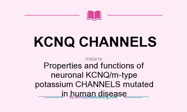What does KCNQ CHANNELS mean? It stands for Properties and functions of neuronal KCNQ/m-type potassium CHANNELS mutated in human disease