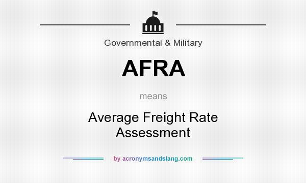 What does AFRA mean? It stands for Average Freight Rate Assessment