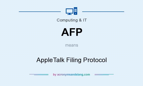 What does AFP mean? It stands for AppleTalk Filing Protocol