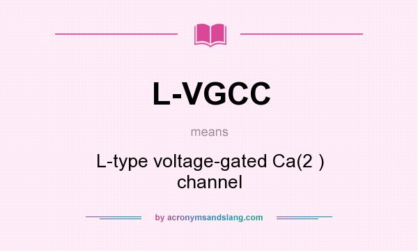What does L-VGCC mean? It stands for L-type voltage-gated Ca(2 ) channel