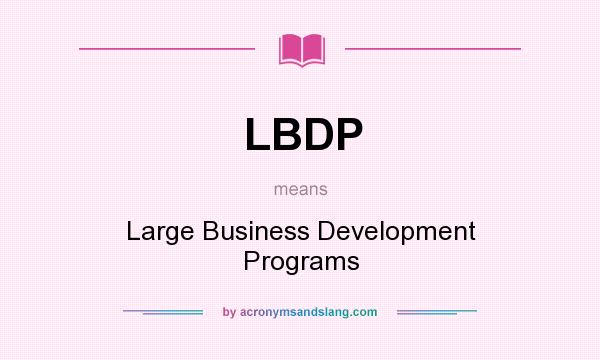 What does LBDP mean? It stands for Large Business Development Programs