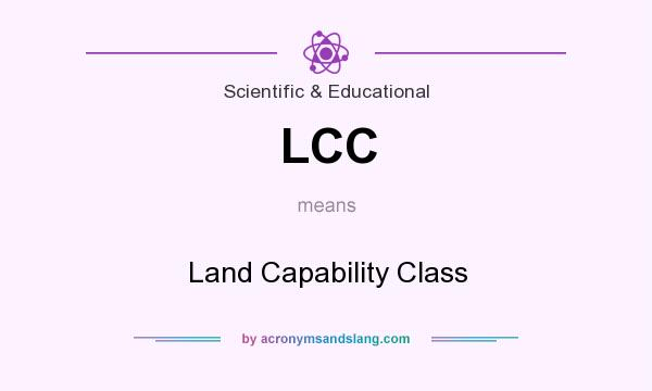 What does LCC mean? It stands for Land Capability Class