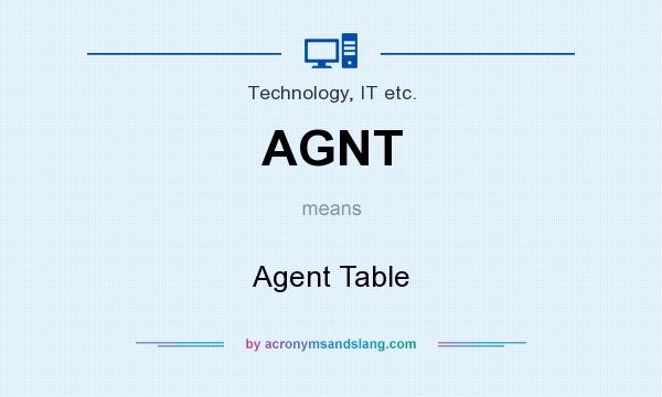 What does AGNT mean? It stands for Agent Table