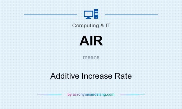 What does AIR mean? It stands for Additive Increase Rate