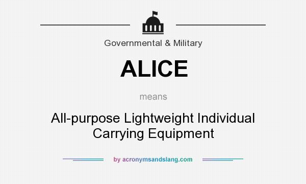 What does ALICE mean? It stands for All-purpose Lightweight Individual Carrying Equipment
