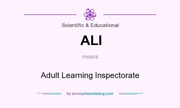 What does ALI mean? It stands for Adult Learning Inspectorate