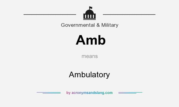 What does Amb mean? It stands for Ambulatory