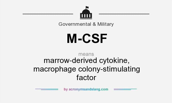 What does M-CSF mean? It stands for marrow-derived cytokine, macrophage colony-stimulating factor