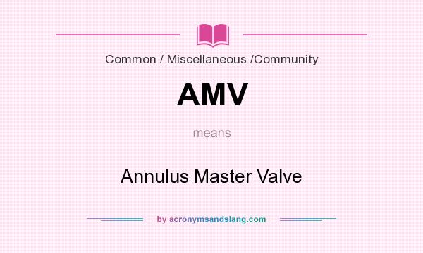 What does AMV mean? It stands for Annulus Master Valve