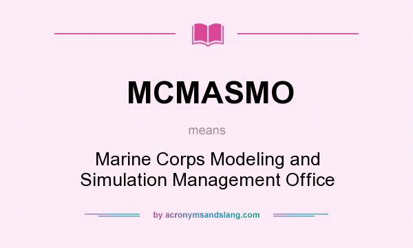 What does MCMASMO mean? It stands for Marine Corps Modeling and Simulation Management Office