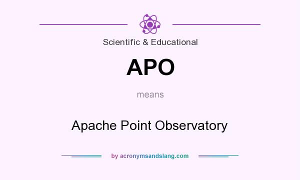 What does APO mean? It stands for Apache Point Observatory