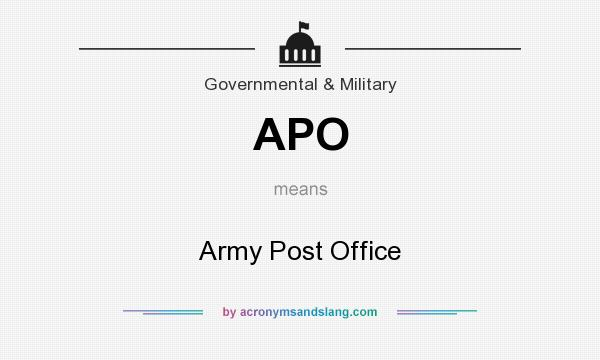 What does APO mean? It stands for Army Post Office