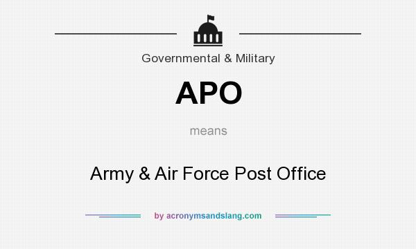 What does APO mean? It stands for Army & Air Force Post Office