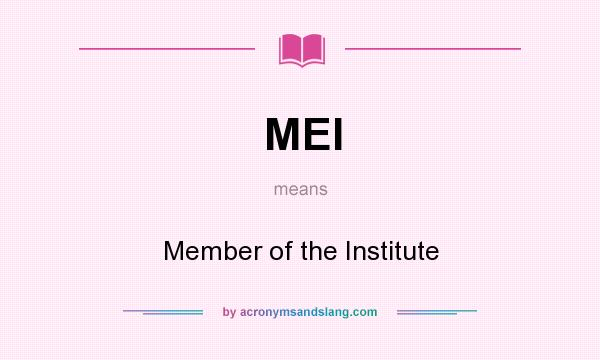 What does MEI mean? It stands for Member of the Institute