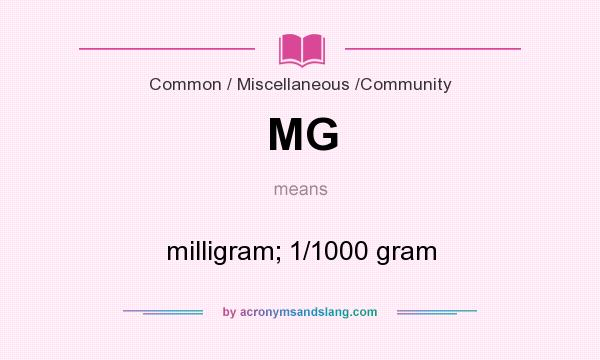 What does MG mean? It stands for milligram; 1/1000 gram