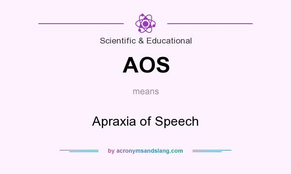 What does AOS mean? It stands for Apraxia of Speech