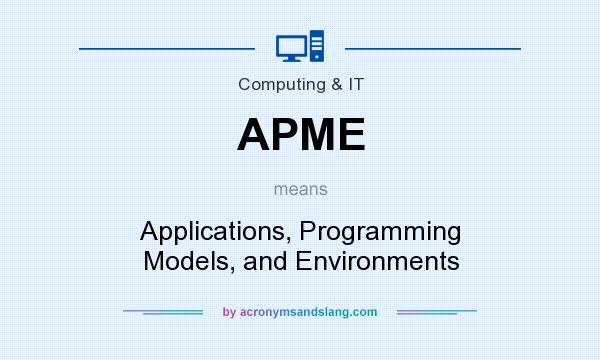What does APME mean? It stands for Applications, Programming Models, and Environments