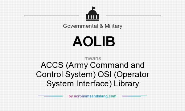 What does AOLIB mean? It stands for ACCS (Army Command and Control System) OSI (Operator System Interface) Library