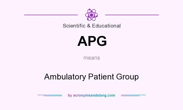 What does APG mean? It stands for Ambulatory Patient Group