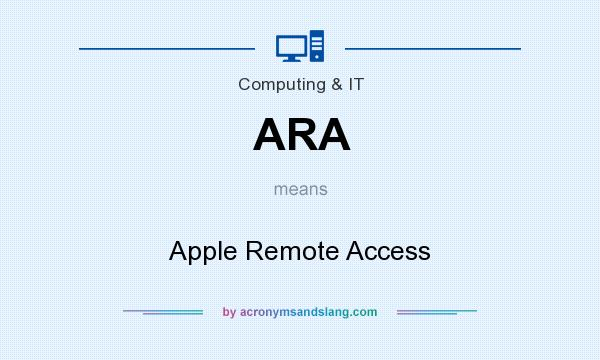 What does ARA mean? It stands for Apple Remote Access