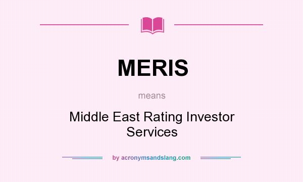 What does MERIS mean? It stands for Middle East Rating Investor Services